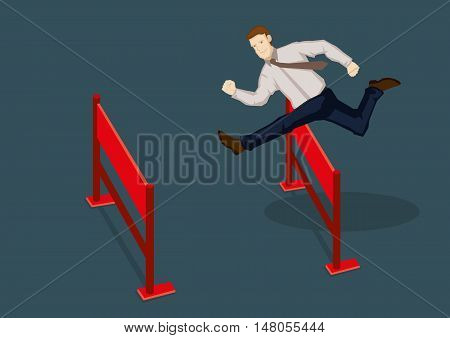 Young confident businessman jumping over hurdles. Vector cartoon illustration for overcoming obstacles and adversity in business concept isolated on plain green background. poster