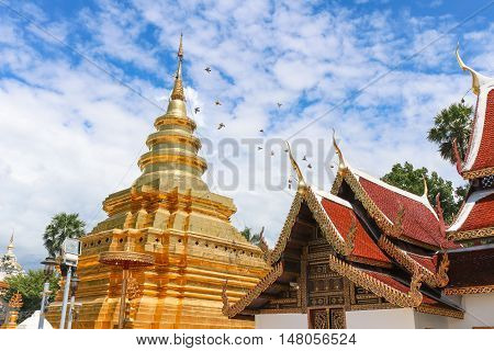 """Temple name """"Wat Phra That Sri Chom Thong Worawihan"""" located in Chiang Mai Thailand poster"""