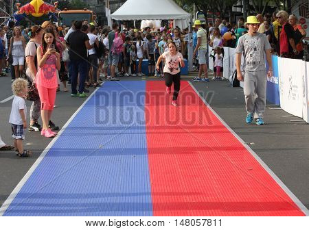 BELGRADE ,SERBIA - SEPTEMBER 11 2016:Activities on the street as promotion of European athletics indoors championship which will be held from 3-5.March 2017 in BelgradeSerbia
