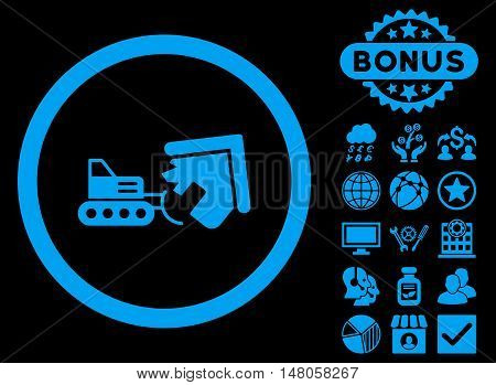 Demolition icon with bonus symbols. Vector illustration style is flat iconic symbols, blue color, black background.