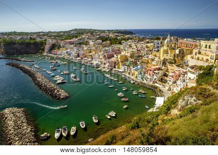 Panorama of Corricella village on Procida island Campania Italy