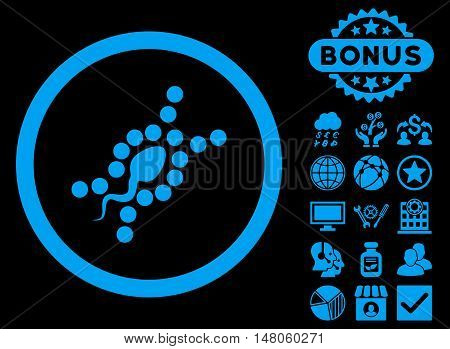 DNA Replication icon with bonus images. Vector illustration style is flat iconic symbols, blue color, black background.
