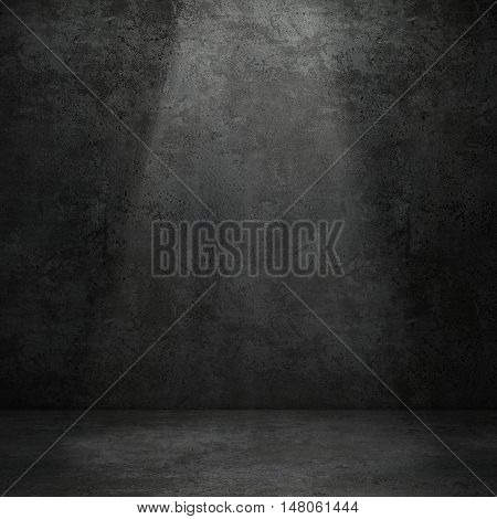 Grungy concrete wall and stone floor room with volume light as background. 3D rendering