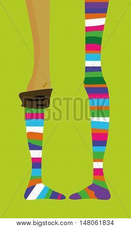 long thin teenage girl's legs in striped socks stocking vector hand-drawn picture funny cartoon on bright background
