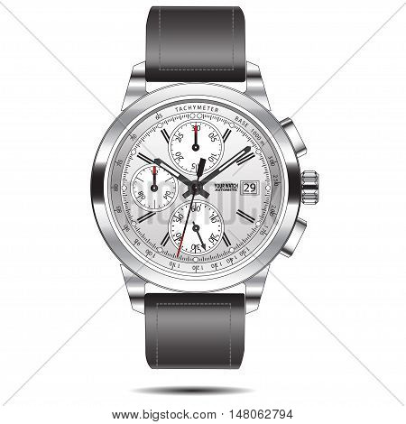 Watch chronograph stainless design vector isolated illustration.