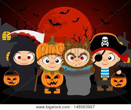 Trick or Treat Halloween vector background with kids in Halloween costume