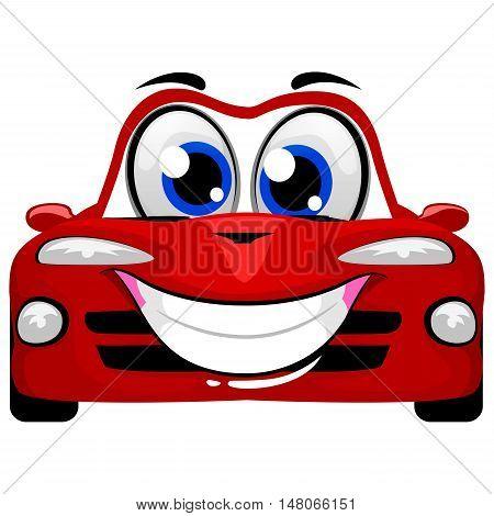 Vector Illustration of Cute Cartoon Car Mascot