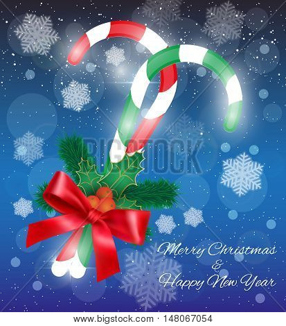 Christmas background with red and green candycanes, fur branches with red ribbon at light background with snow. vector illustration. idea for greeting card