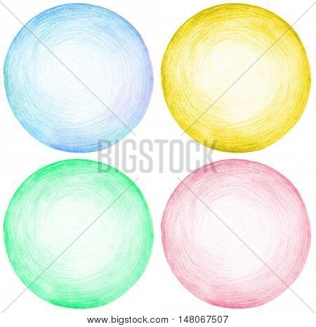 Abstract circle pencil scribbles background texture.. Isolated. Set.