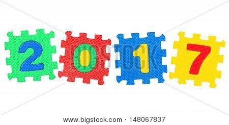 Message 2017. from letters puzzle isolated on white background.