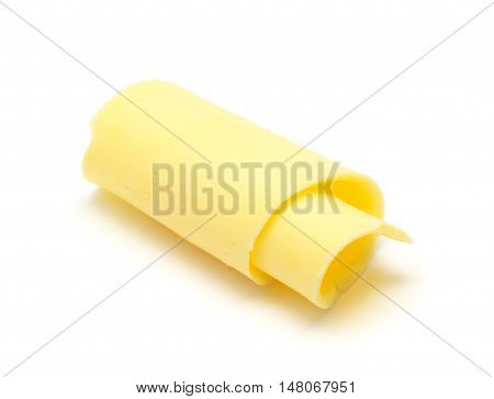Curl of fresh butter isolated on white background