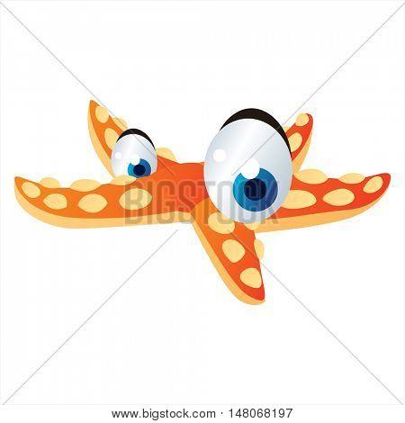 vector funny image of cute bright color underwater sealife animal. Seastar