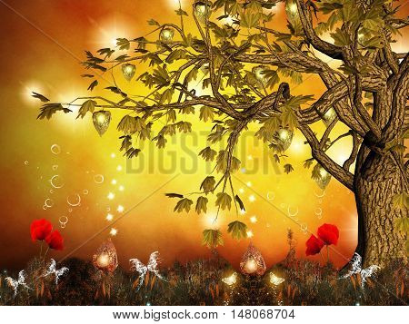 Tree in an enchanted glade with butterflies and poppies