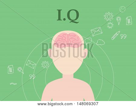 iq intellectual question illustration concept with people with icon education and tools as background vector