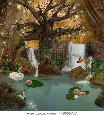 Enchanted nature series - magic pond in the middle of the forest