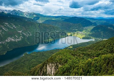 Top view on the Bohinj lake, Slovenia