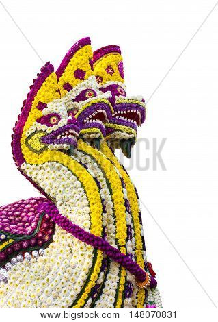 Serpent made of flowers Isolated white background