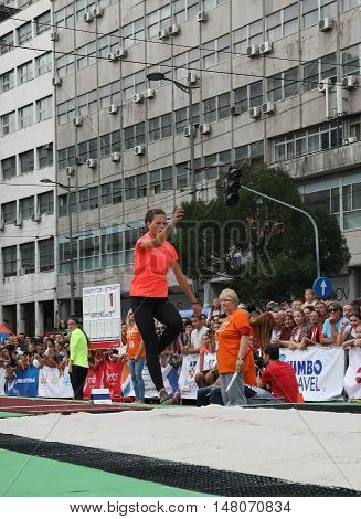 BELGRADE,SERBIA - SEPTEMBER 11 2016: Sara Lukic testing long jump runway for competition as promotion of European athletics indoors championship which will be held from 3-5.March 2017 in BelgradeSerbia