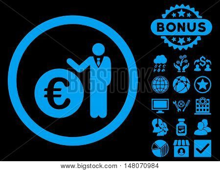 Euro Economist icon with bonus pictogram. Vector illustration style is flat iconic symbols, blue color, black background.