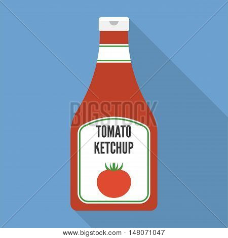Vector tomato ketchup icon, flat design with long shadow