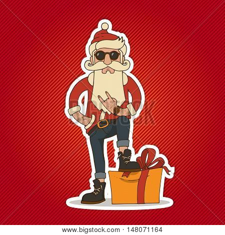 Hipster Santa Claus with Stylish beard and hip sunglasses. Christmas and New Year vector illustration.