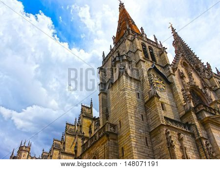 Tower of Saint John the Baptist Cathedral in Lyon city, France