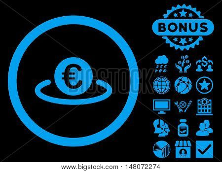 Euro Placement icon with bonus pictogram. Vector illustration style is flat iconic symbols, blue color, black background.