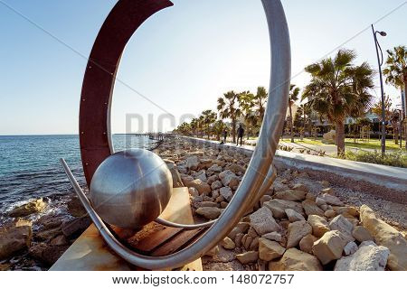LIMASSOL CYPRUS - MARCH 18 2016: Sculpture at Limassol Molos area. Cyprus