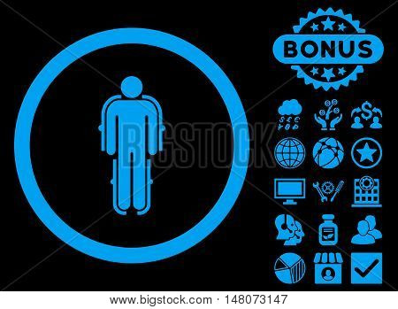 Exoskeleton icon with bonus symbols. Vector illustration style is flat iconic symbols, blue color, black background.