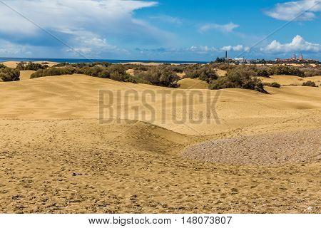 Maspalomas Sand Dunes And City - Maspalomas Gran Canaria Canary Islands Spain