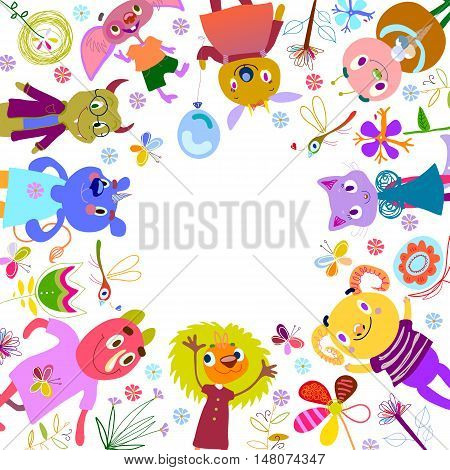 Monsters, fantastic flowers, butterflies, dragonflies. Funny Cartoon fantastic creatures. Cute fabulous incredible characters. Emotions, joy, party, birthday. Vector illustration with place for text.