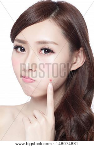 Face Skin Problem - young woman unhappy touch her skin isolated concept for skin care asian