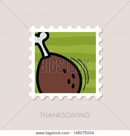 Roasted Chicken thigh stamp. Harvest. Thanksgiving vector illustration eps 10