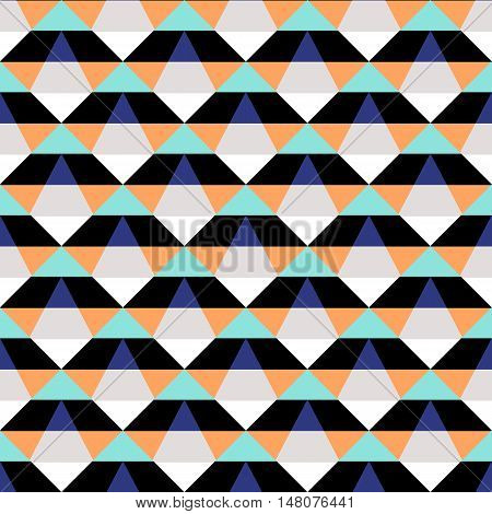 Abstract geometric color blocked pattern with stripes, squares, random geometric shapes. Vector seamless abstract print in op art style. Black and orange bold textile design for fall winter fashion