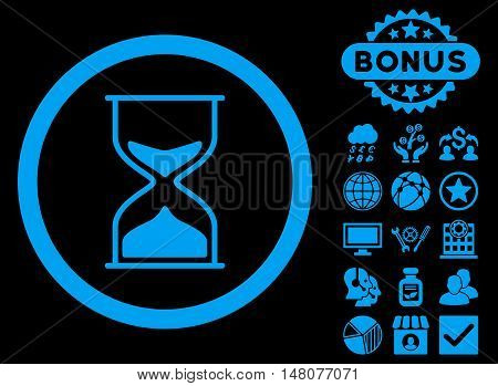 Hourglass icon with bonus pictures. Vector illustration style is flat iconic symbols, blue color, black background.
