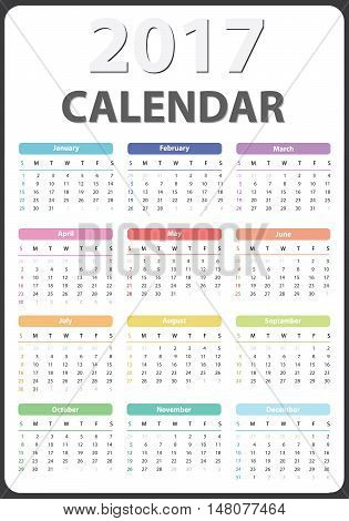 calendar for 2017 starts sunday, calendar 2017, organizer 2017, vector calendar, pocket calendar design, vertical calendar, colored calendar