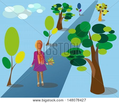 The girl goes down the avenue.Girl (seen from behind) holding autumn leaves. She goes on the road between the trees. Horizontal vector illustration.