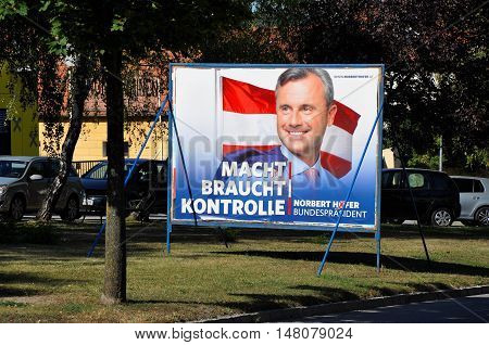 Breitenbrunn, Burgenland, Austria - September 1, 2016: Billboard with Norbert Hofer, candidate FPO party in presidential election, which will be repeated in December 2016 because of manipulation with votes.