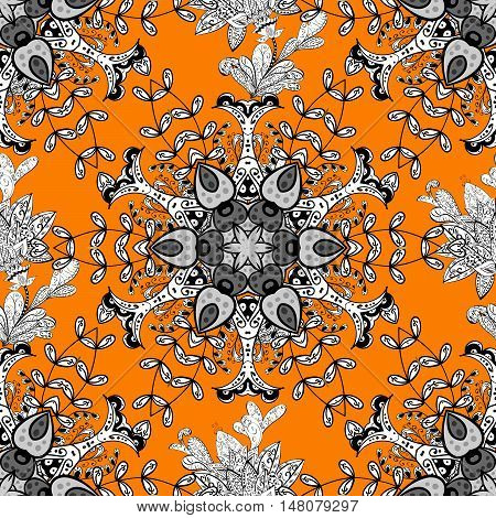Seamless background. Circle flower mandalas seamless pattern in black white and orange raster