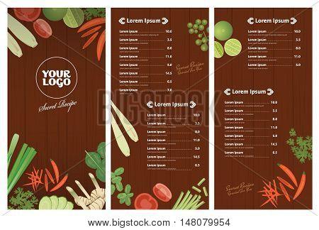 Thai foods restaurant menu template Thai ingredients on wooden background