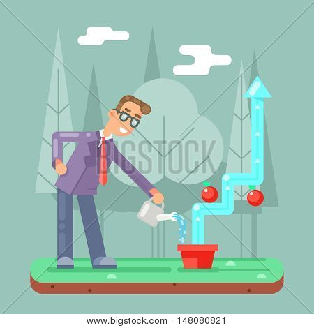 Successful Businessman Watering Growth Infographic Design Vector illustration