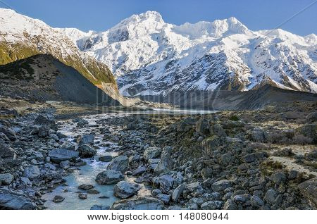 Hooker River In Aoraki/mount Cook National Park, New Zealand
