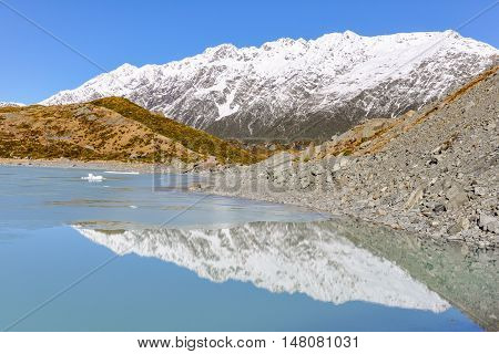 Reflection In Aoraki/mount Cook National Park, New Zealand