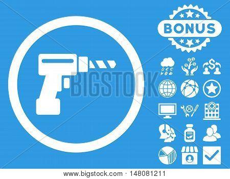 Drill icon with bonus symbols. Vector illustration style is flat iconic symbols white color blue background.
