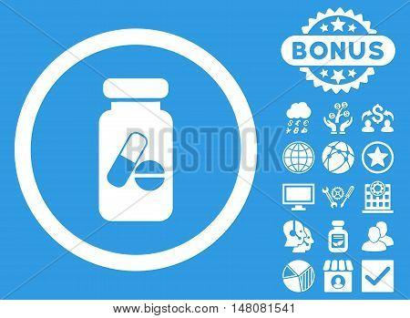 Drugs Phial icon with bonus symbols. Vector illustration style is flat iconic symbols white color blue background.