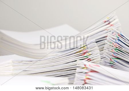 Pile Overload Paperwork Have Blur Pile Document Foreground And Background