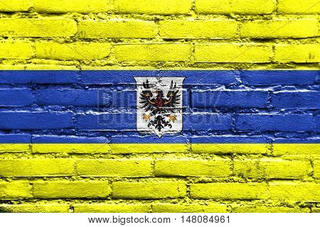 Flag Of Trento With Coat Of Arms, Italy, Painted On Brick Wall