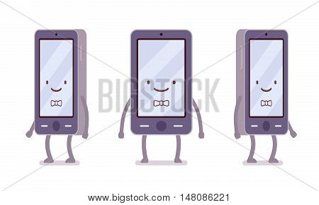 Smiling boy smartphone from different sides with legs and hands isolated against white background. Cartoon vector flat-style illustration