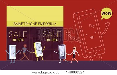 Smartphone is pulling its owner to the emporium to shop. Cartoon vector flat-style concept illustration