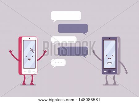 Smartphones boy and girl are charting, dialogue bubbles around. Cartoon vector flat-style concept illustration